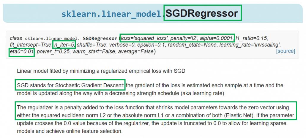SGDRegressor API